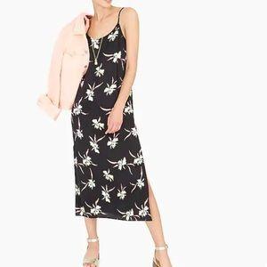 J. Crew midi slip dress black with floral print M